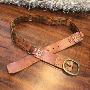 Vintage Bohemian Distressed Linked Leather Belt